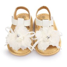 Baby Sandals Girls Shoes Toddlers Infant Baby Flower PU Leather Sandals White