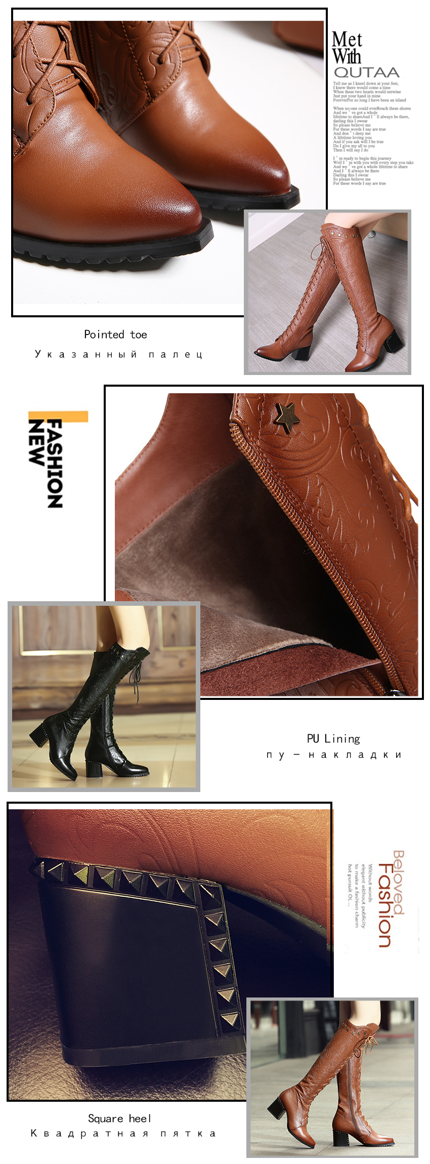 2018 Women's Over The Knee High Boots, Cow Leather, Fashion Lace Up Pointed Toe 14