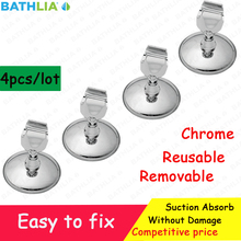 4PCS Adjustable Suction Cup Shower Arm Bathroom Shower Head Holder Adapter Hanger ABS Chrome Finish Removable