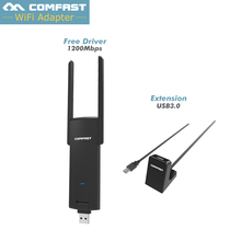 COMFAST usb wifi Adapter Free Driver 1200m 2.4g 5g dual-band wireless card long distance usb wi-fi receiver 7612U chip+Extension(China)