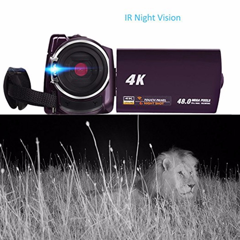 4K Camcorder Video Camera Ultra HD 60 FPS Digital Video Recorder Wifi night Vision LCD Touchscreen External with Wide Angle Lens 5