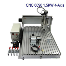 CNC 6090 Z-VFD 1.5KW 4 axis engraving machine metal Wood PCB drilling router(China)