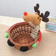 Christmas Candy Storage Basket Decoration Santa Claus Storage Basket Gift Free Deer Snowman candy Boxes drop shipping Kids Gift3(China)