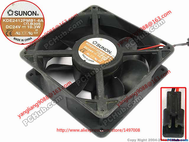 SUNON KDE2412PMB1-6A, (7).B305 DC 24V 10.3W 2-wire 2-pin connector 60mm 120X120X38mm Server Cooling Square fan<br>