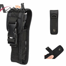 Small Size Molle Flashlight Pouch LED Torch Holster 17x4x2cm Outdoor Sports Waist Belt 6cm Flashlight Carrier Case Black