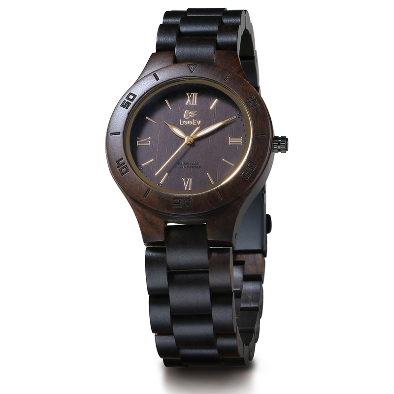 LeeEv EV1986B Womens Natural Black Sandal Wood Watch Quartz Light Weight Vintage Wooden Wrist Watch<br>
