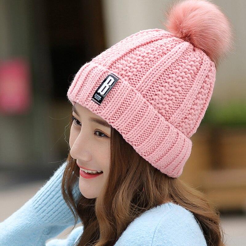 B Letter Fashion Beanies&amp;Skullies Bonnet Femme Womans Warm Woolen Winter Hats Knitted Fur Cap For Woman GorrosÎäåæäà è àêñåññóàðû<br><br><br>Aliexpress
