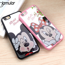 Buy JAMULAR Mickey Minnie Mouse Mirror Case iPhone 8 7 6s 6 Plus Silicone Cartoon Soft Cover iPhone 6s 7 Plus Fundas Coque for $2.69 in AliExpress store
