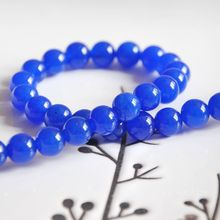 natural navy blue chalcedony 4-14mm round loose bead bracelet necklace earrings making jewelry craft findings handmade materials