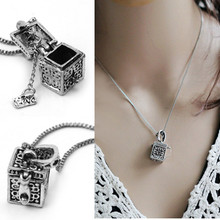 2017 Hot Retro Vintage Antique Silver Tone Women Open Prayer Wish Box Pendant Necklace Jewelry Lover Valentine Gift