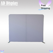 10ft Portable Straight Blank Wall,Trade Show Pop Up Booth Tension Fabric Advertising Display Aluminum Stand With White Banner