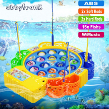 Electronic Toy Magnetic Fishing Toy Fishing Game Musical Plastic Fish Board Games Parent-Child Interactive Educational Toy(China)