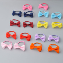 2 pieces Bow Elastic Cotton stretch Hair Ties Bands Rope Mini Hair Holders Headband Kids Hair Accessories No Slipping Snagging