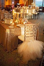 "SALE 90x156"" Dark Gold Sequin 8 Foot Sequin TableCloth Wholesale Sequin Table Cloths Sparkly Champagne Table Sequin Linens"