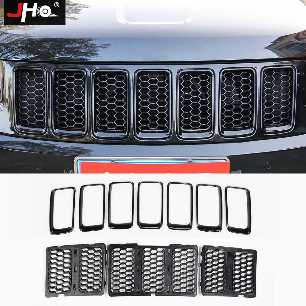 Black ABS Front Grid Grille Insert Trim Cover Ring For Jeep Cherokee 2014-2016