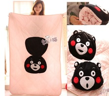 Plush 1pc 150cm creative Kumamon black bear cotton warm car baby blanket quilt cushion creative stuffed gift(China)