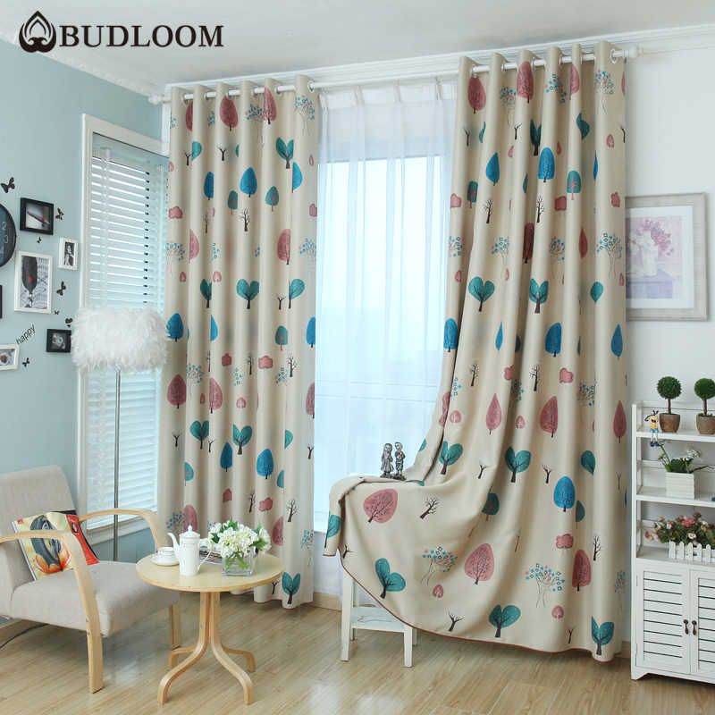 Budloom cartoon tree blackout curtains for bedroom curtains for kids room boys girls room window drapes childlike shade panel