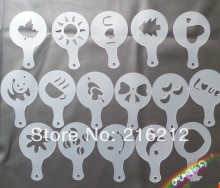 New Arrive Plastic Coffee stencil 16 pcs per bag coffee mould Cappuccino coffee maker