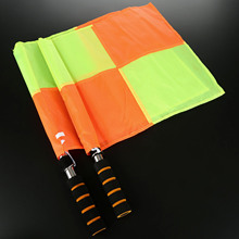 1Pair (2pcs) Soccer/ Football Referee Flag w/ Carry Bag Judge Sideline Fair Play Use Sports Match Football Rugby Hockey Training