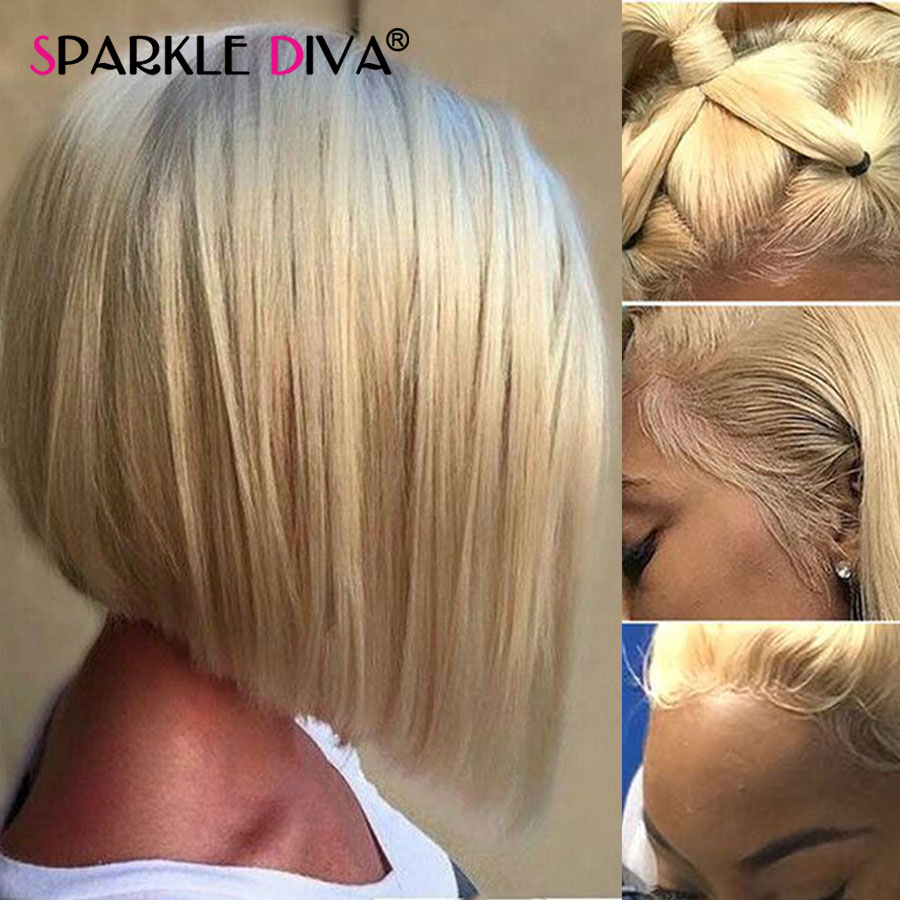 613 Short Bob Wig Blond Lace Front Human Hair Wigs For Women Natural Hairline Brazilian Honey Blond Remy Straight Lace Front Wig(China)