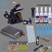 Beginner Tattoo Starter Kits 4 Colors Tattoo Ink Sets 8 Wrap Coils Guns Machine Kit Power Supply Needles Permanent Tattoo Kit