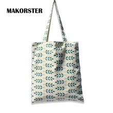 MAKORSTER Canvas Green Womens Bags Tote shopping Female top-handle luxury designer shopping Bag handbags Famous Brands XHFBSY(China)