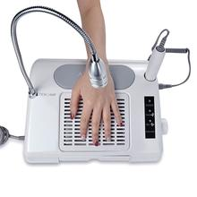 3 in 1 Nail Art Drill 35000RPM & Suction Dust Collector Machine with Desk Lamp Salon Nail Art Equipment Tool(China)