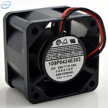 DHL Free 109P0424E303 DC 24V 0.19A 4028 40*40*28mm 4CM 2 Wires Large Air Volume Inverter Cooling Fan