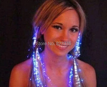 DHL Freeshipping  500pcs LED Light Hair Flashing Hairpin tire color fiber Luminous braid Party Festival Bar Party Fun items