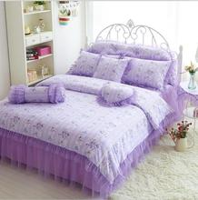 purple pink Lace bedspread princess bedding set comforter/duvet cover queen king 7pcs wedding bed skirts 100%cotton