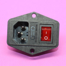 Hot! 1pc IEC320 C14 AC Power Cord Inlet Socket Receptacle 250V 10A With ON-OFF Red Light Rocker Switch and Fuse Holder RoHs CE(China)