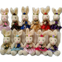 NEW 15CM 10pcs/lot pp cotton kid toys plush doll mini small rabbit flower bouquets rabbit for wedding Easter gift stuffed bunny(China)