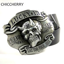 Mens Big Buckle Belts Cool Lucky 13 Tattoo Your Soul Skull Belt Buckles Metal For Men Pants Jeans Cinturon Hebillas Calavera(China)