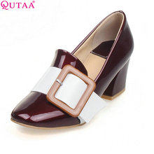 QUTAA Mixed Color Square High Heel Platform Ladies Summer Shoes PU Patent leather Woman Pump Ladies Wedding Shoe Size 34-43
