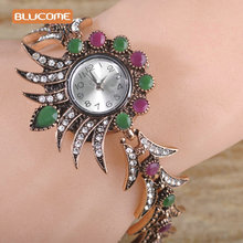 Blucome Vintage Women Bracelet Watches Resin Flower Crystal Quartz Wristwatches Turkish Bracelet Watch Hand Accessories Jewelry