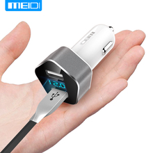MEIDI Micro USB Car Charger Dual USB Car Charger Digital LED Display DC 5V 2.4A Car Voltage Diagnostic for iPhone 7 Samsung Xiaomi Car Phone Charger(China)