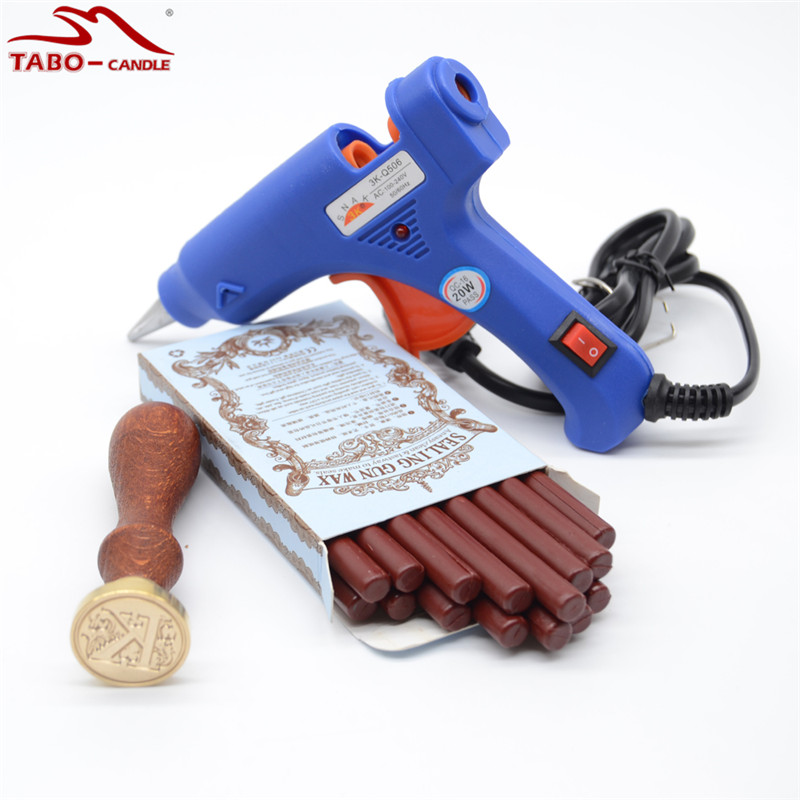 Glue Gun Included Dark Red Sealing Wax Stick 16pcs/box with 25mm Round Letter Stamp ( A-Z) for Retro Postal Envelope Decoration<br>