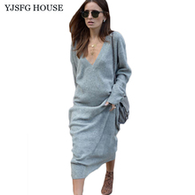 YJSFG HOUSE Casual Loose Autumn Women Long Evening Party Dress Ladies Vintage V-neck Sweater Dress Long Sleeve Office Robe Femme(China)