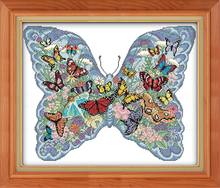 Butterflies in a butterfly Needlework DIY wall hanging cross stitch 11CT&14CT Counted embroidery kit innovation items home decor