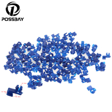 100Pcs Universal Auto Car Door Clips Lock Rod End Fastener Rivets Bumper Cover Plastic Automotive Screw Fastener Styling Blue