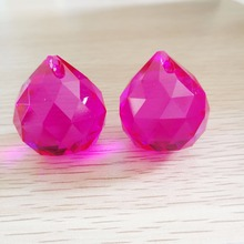 10Pieces 30mm Fuchsia chandelier hanging drop crystal glass faced ball Glass lighting ball for wedding room decor(China)