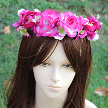 Summer style big flower yellow Bride Accessory Rose Flowers Hair Bridal Wedding Flower Garland Headbands Crowns headband