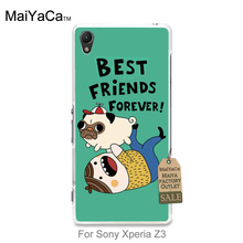 Plastic PC Cell Phone best friends forever pugs For Sony Xperia z3 case