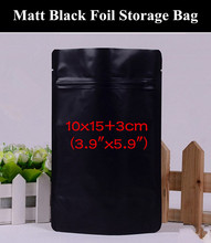 "50pcs 10x15+3cm (3.9""x5.9"") 280micron Small Matt Black Aluminum Foil Ziplock Bag Doypack Resealable Moisture-proof  Zip Pouch"