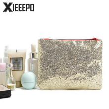 Fashion Gold Paillette Cosmetic Bag Women Travel Zipper Make Up Bag Necessaries Organizer Makeup Case Pouch Toiletry Wash Bag