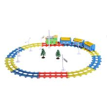 31pcs/set Electric Cartoon Train Track with Music Lights Children Toys 4 Parts Plastic Railway Track Slot Running Train Toys(China)