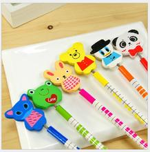 6pcs/lot Cute little animal wooden pencil / stationery set / Kid gift set/ Office & School Supplies WJ0413(China)