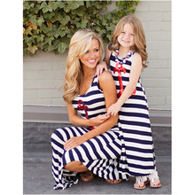 Fashion family look girl and mother dress 2017 summer matching clothes classic striped red anchor paillette maxi long tank dress(China)