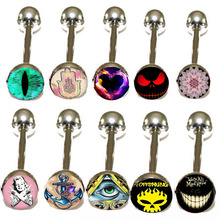 Metal Tongue Rings Steel Bars Barbells Funny Skull Anchor Heart Logo Picture Lot 10 different logo for 300pcs piercing barbell(China)