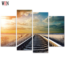 WEEN Sunset Train Track Canvas Art 4Pcs Modern Wall Pictures Painting For Home Decorative Scenery Poster Printed On Canvas 2017